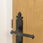 Composite Wood Texture Door and Traditional Steel Handle