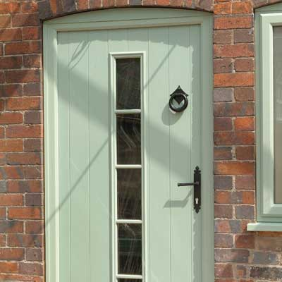 Composite Green Wood Effect Entrance Door