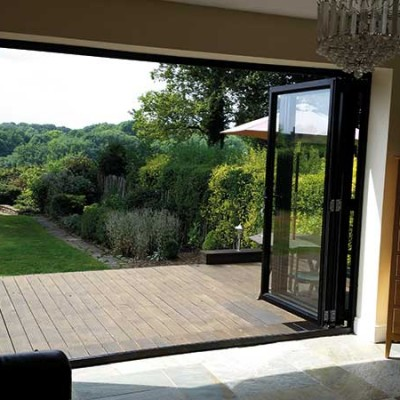 black bifold doors inside