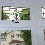 Stained timber casement windows