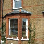 White bay sash windows
