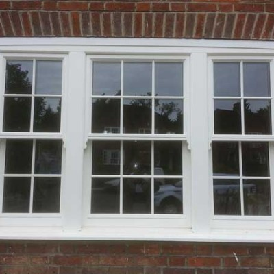 White box sash windows